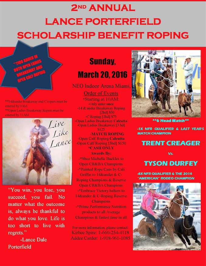 Lance Porterfield Scholarship Benefit Roping